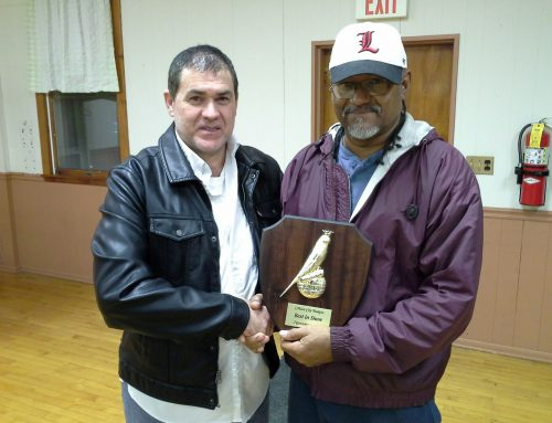 Best in Show winner Robert Marshall with Judge John Laborda Monee, Il. Nov 4, 2017