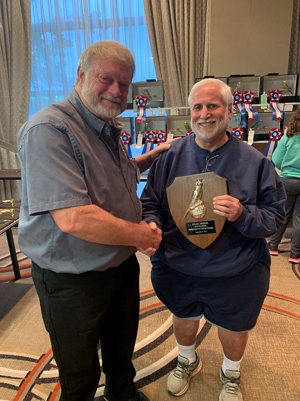 All American 2021 Best in Show winner Stuart Sacks with Judge Mike Dahl